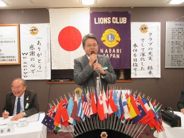 会員スピーチL.若松大介。プロゴルファーを目指していた大学時代、何故プロを諦めたのか貴重な話題など。会長は何が可笑しいのか大笑い。