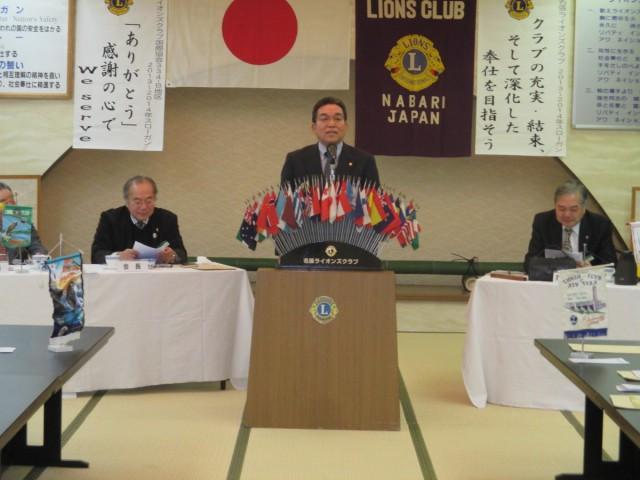 会員スピーチL森岡秀之。今年度の新入会員です。市会議員。卓球では三重県チャンピオンになったこともあるとか!